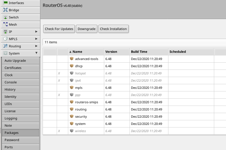mikrotik router check for updates