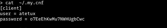 mysql credentials